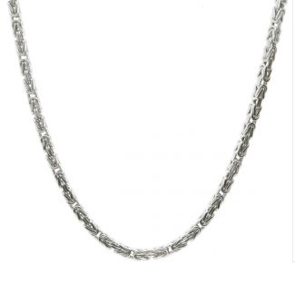 Sterling Silver 4mm Square Byzantine Fancy Chain