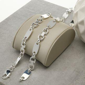 Sterling Silver 9mm Fancy Link & Plate Chain