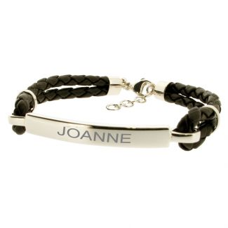 Ladies ID Bracelet Leather and Sterling Silver