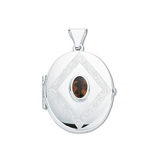 Sterling Silver Oval Locket With Garnet & Optional Engraving