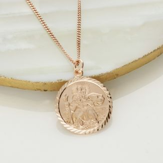 9ct Rose Gold Diamond Cut 19mm St Christopher Pendant With Optional Engraving and Chain