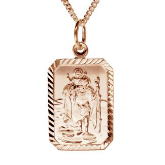 9ct Rose Gold Plated Diamond Cut Large Rectangle St Christopher Pendant With Optional Engraving On Curb Chain