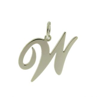 9ct White Gold Script Initial Pendant