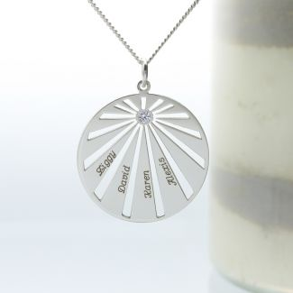 Sterling Silver Sunburst Family Pendant With Optional CZ Or Diamond & Chain