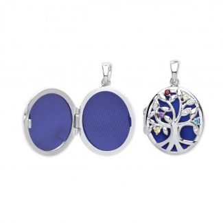 Sterling Silver Tree Of Life Locket Set With CZ Crystals Optional Engraving & Chain