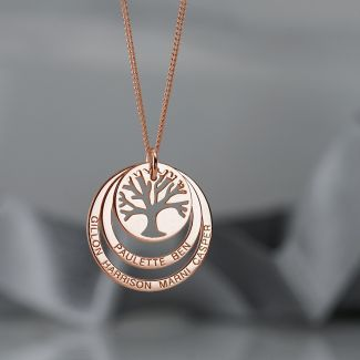 9ct Rose Gold Plated Tree of Life Two Disc Family Necklace