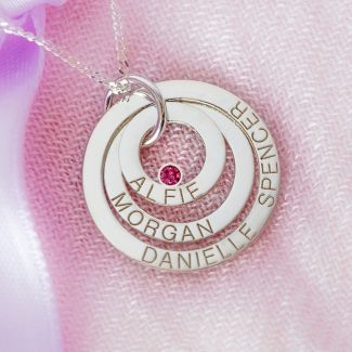 9ct White Gold Engraved Triple Disc Personalised Family Necklace With Ruby