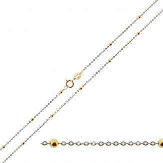 9ct White Gold & 9ct Yellow Gold Bead and Trace Chain