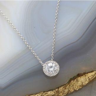 9ct White Gold Round CZ Pendant Necklace