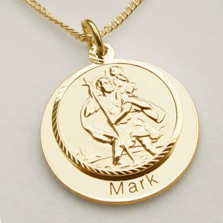 9ct Yellow Gold Personalised Round St Christopher With Travellers Prayer