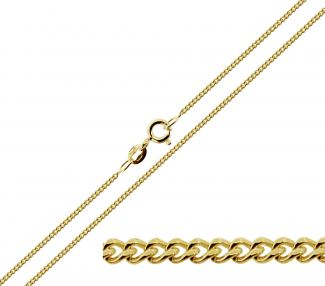 Solid Yellow Gold 1.1mm Diamond Cut Curb Chain