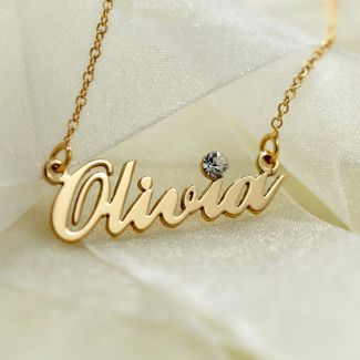 9ct Yellow Gold Plated Carrie Style Personalised Name Necklace With Swarovski Crystal (Sex & The City)