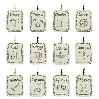 Sterling Silver Rectangular Zodiac Pendant With Optional Chain