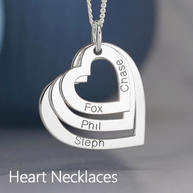 Personalised Family Heart Necklaces