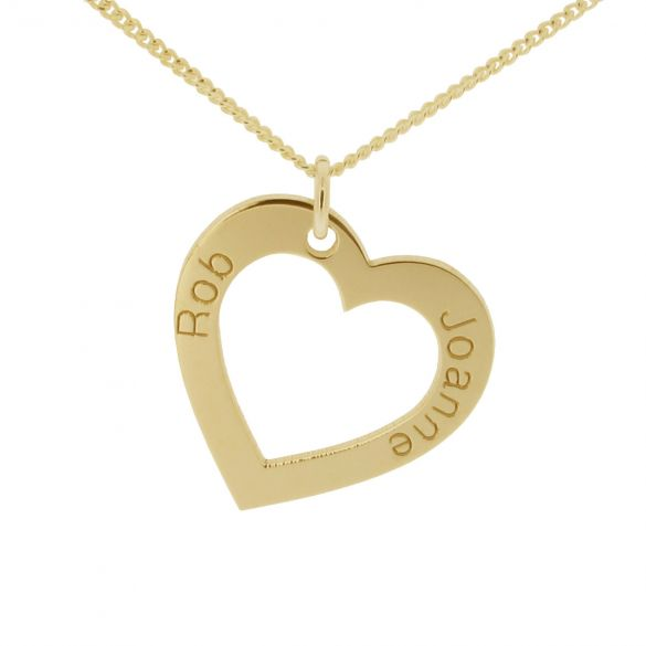 18k Yellow Gold Plated Personalized Heart Necklace
