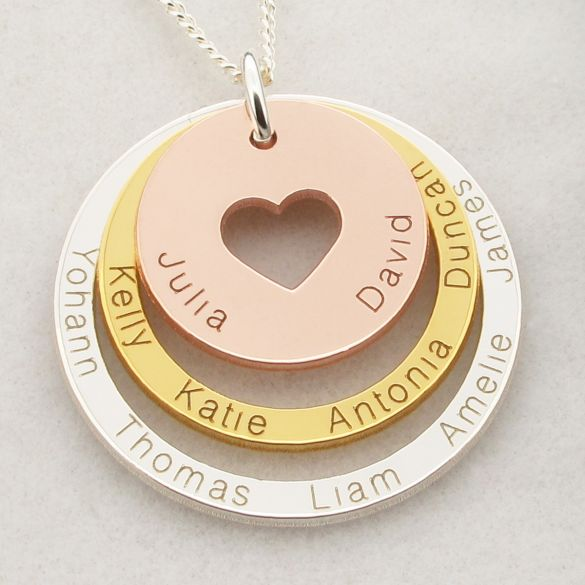 Three Color 18k Gold Plated Two Disc Cut Out Heart Personalized Family Necklace