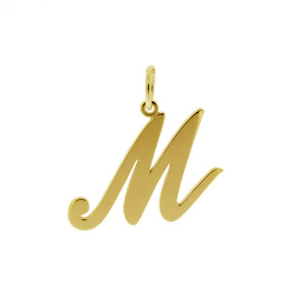18k Yellow Gold Plated Script Initial Pendant