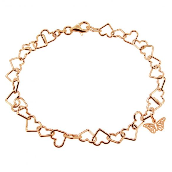 9ct Rose Gold Plated Light Heart Charm Bracelet With Butterfly Charm