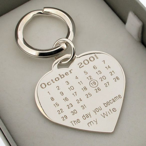Sterling Silver Special Date Heart Keychain With Optional Engraving