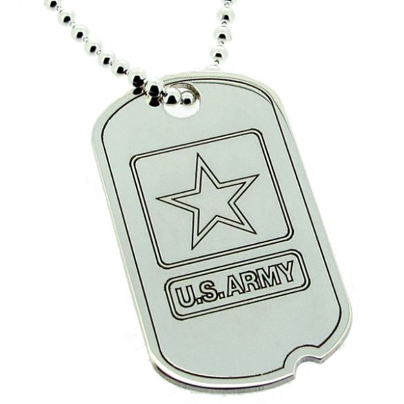 Sterling Silver US Army Style Star Large Dog Tag