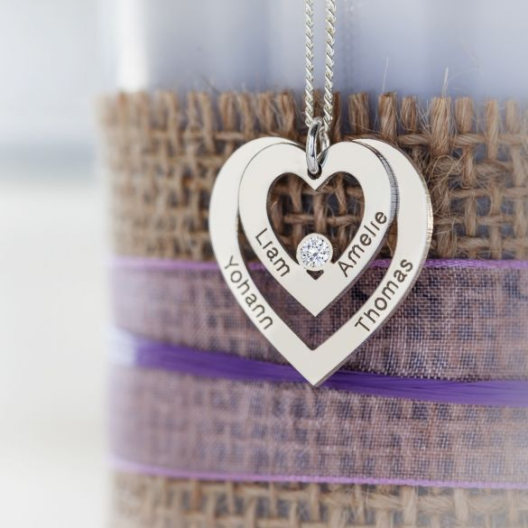 Sterling Silver Double Heart Personalised Necklace With Diamond