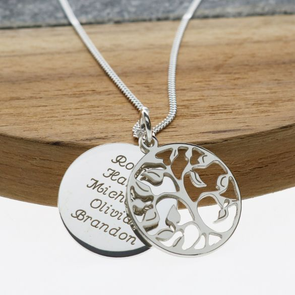 Sterling Silver Filigree Tree Of Life With Personalised Disc & Chain