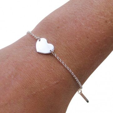 Sterling Silver Heart Bracelet with Optional Engraving