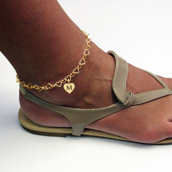 9ct Yellow Gold Plated Light Heart Charm Anklet With Initial Heart Charm On Foot