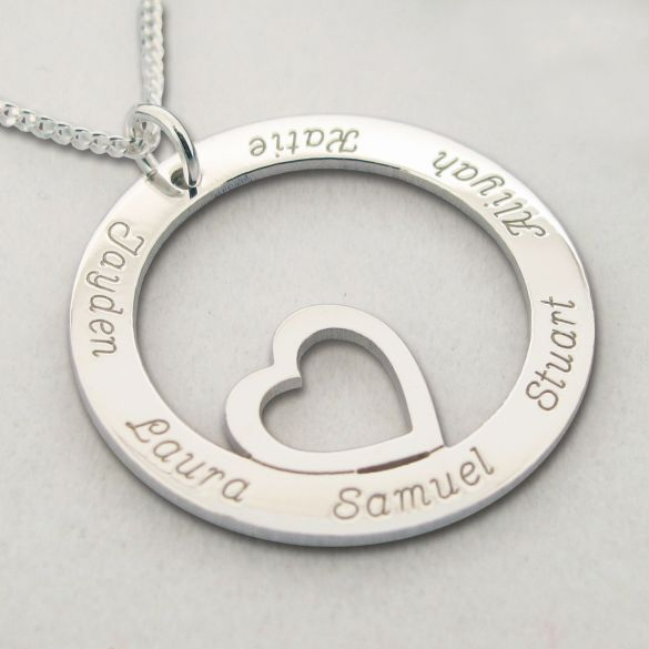 Sterling Silver Heart Disc Personalized Necklace