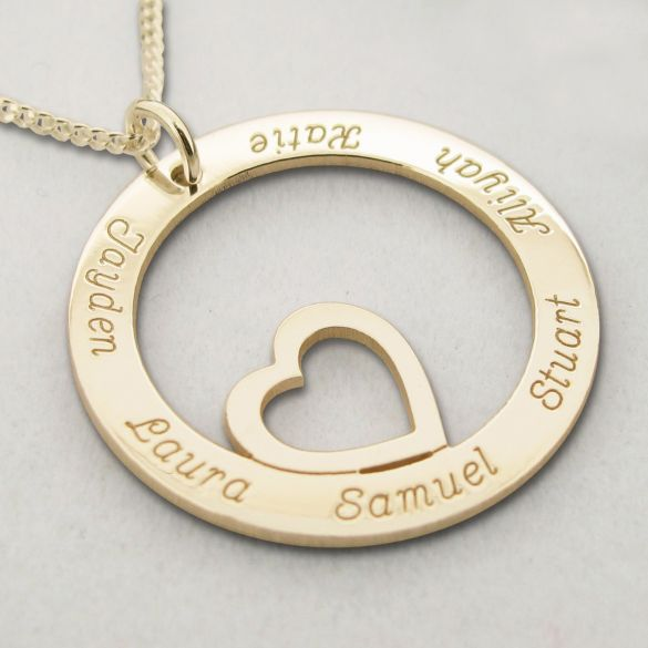 Yellow Gold Plated Heart Disc Personalized Necklace