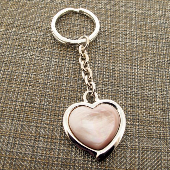 Sterling Silver Pink Shell Heart Keychain With Optional Engraving