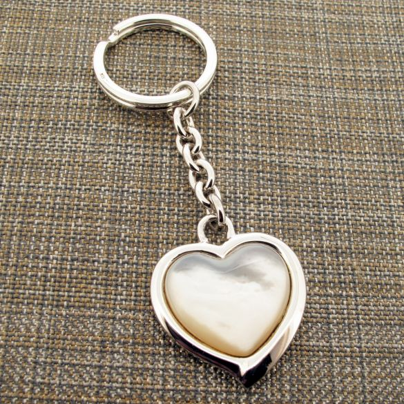 Sterling Silver Mother of Pearl Heart Keychain With Optional Engraving