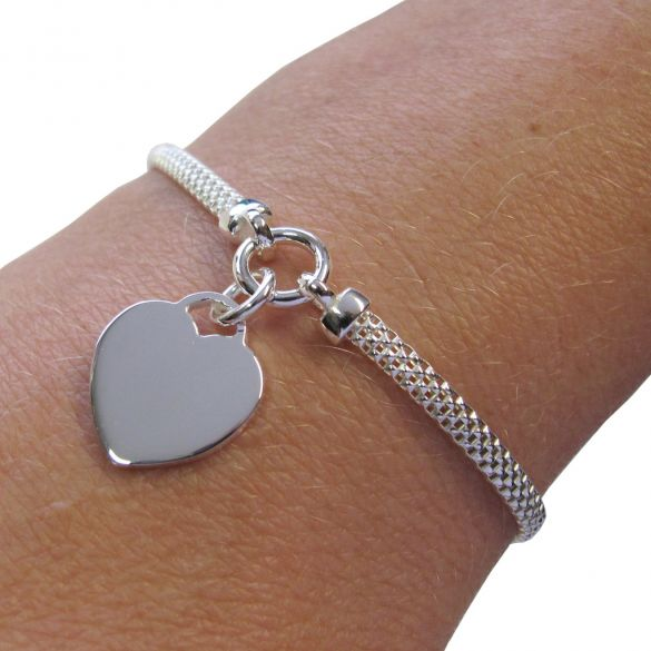 Sterling Silver Ladies Heart on Woven Chain Bracelet With Optional Engraving