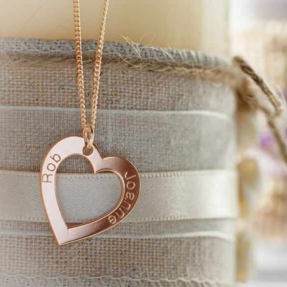 18k Rose Gold Plated Personalized Heart Necklace