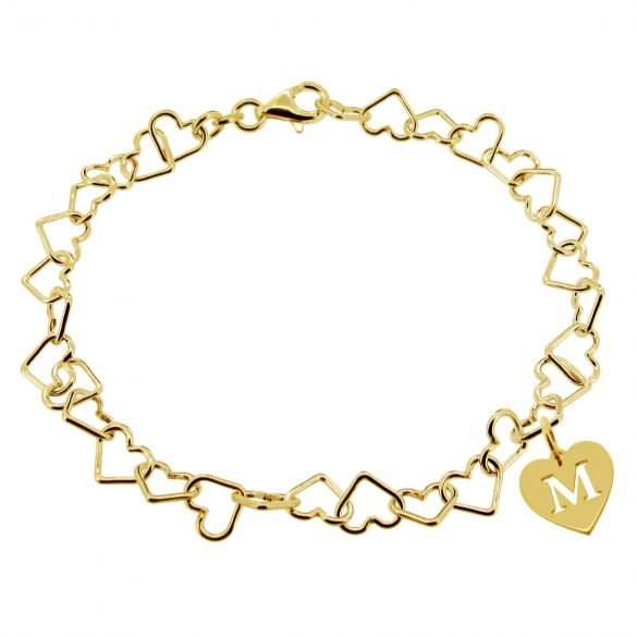 18k Yellow Gold Plated Charm Bracelet With Heart Initial Charm