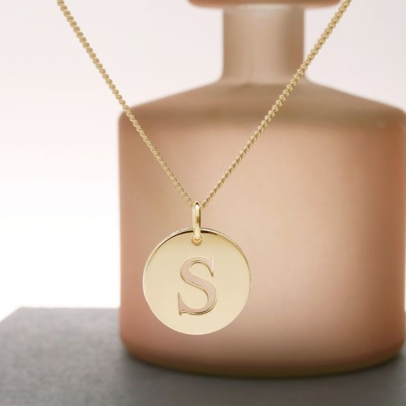 18k Yellow Gold Plated Initial Disc Pendant