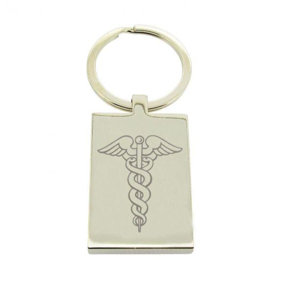 Mirror Polished Rectangle Medic Aware Keychain