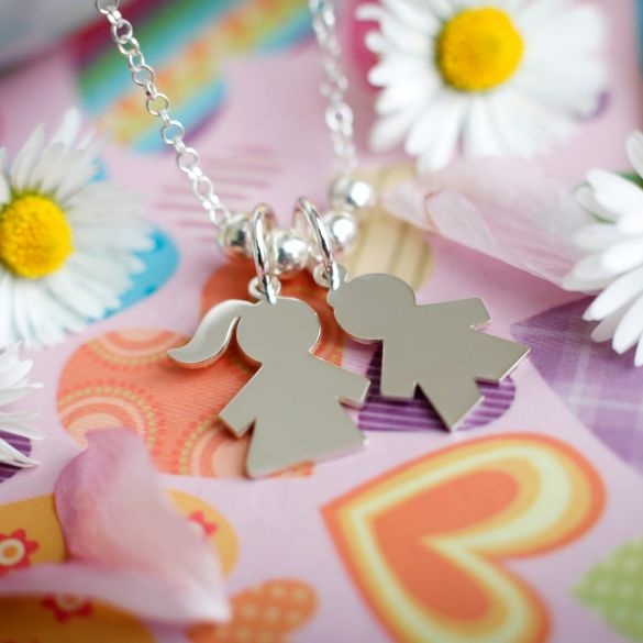 Sterling Silver Mom Necklace With Engravable Kids Pendants