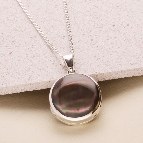 Sterling Silver Round Black Mother Of Pearl Locket With Optional Engraving & Chain
