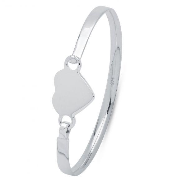 Childs Engraved Sterling Silver Heart ID Bracelet