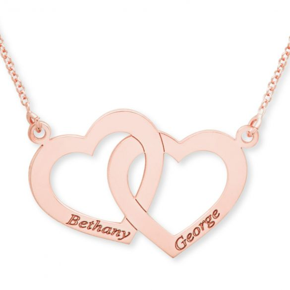 9ct Rose Gold Plated Engraved Horizonital Double Heart Pendant With Chain