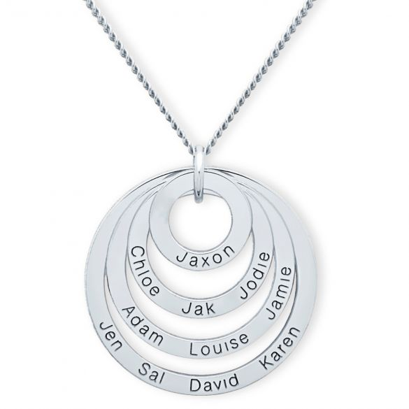 Sterling Silver Four Disc Family Pendant Necklace
