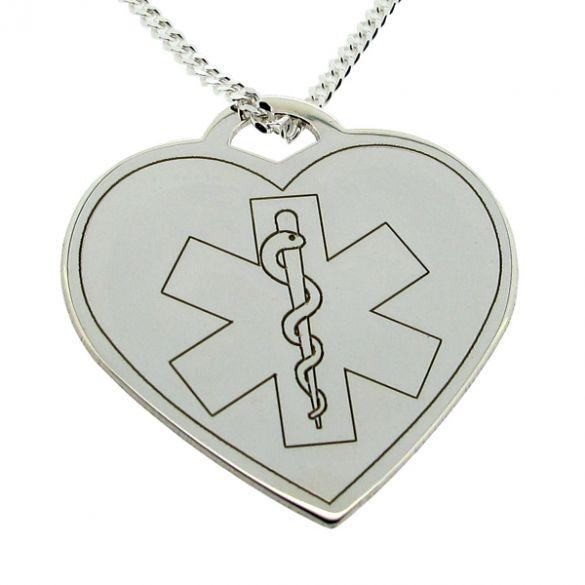 Sterling Silver Medic Aware Heart Pendant & Optional Chain