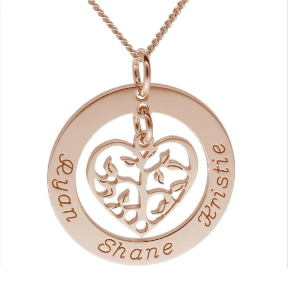 9ct Rose Gold Plated Filigree Heart Tree of Life Family Necklace