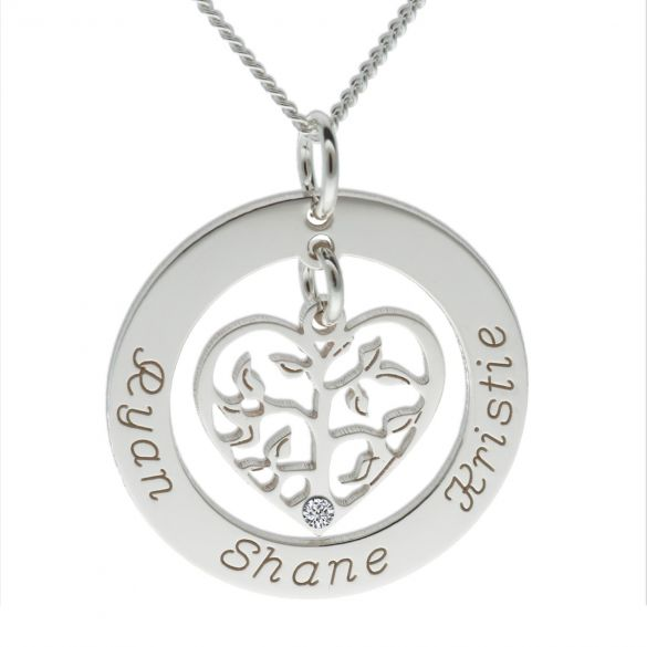 Sterling Silver Filigree Heart Tree of Life Family Necklace With Diamond