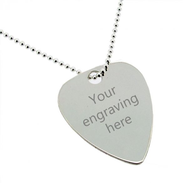 Sterling Silver Plectrum Guitar Pick Tag With Engraving