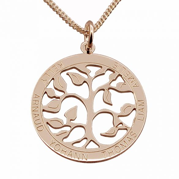 18k Rose Gold Plated Filigree Tree of Life Disc Personalized Family Necklace