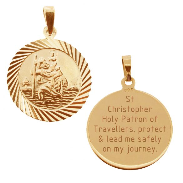 18k Rose Gold Plated 20mm Diamond Cut St Christopher Pendant With Travelers Prayer and Optional Chain