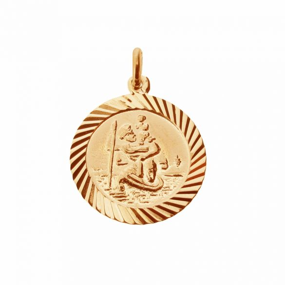 18k Rose Gold Plated 16mm Diamond Cut St Christopher Pendant With Optional Personalisation and Chain