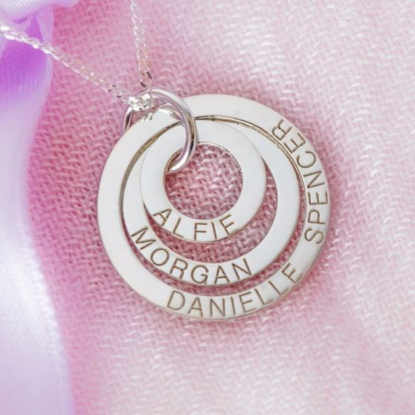 Sterling Silver Triple Disc Personalised Family Necklace